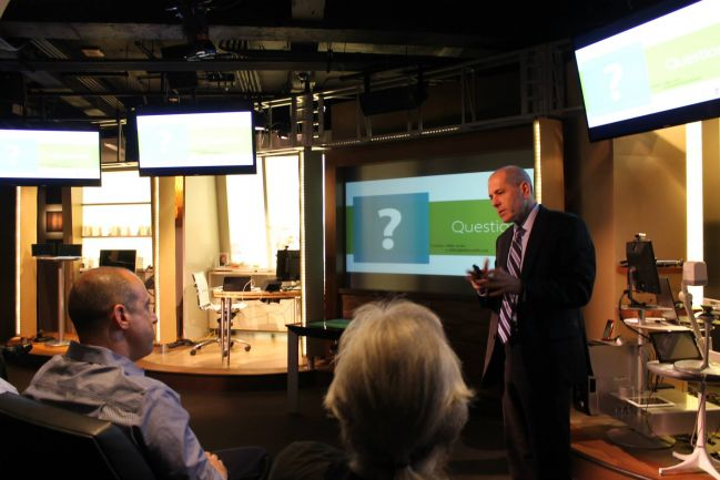 Michael Levin speaking during an on-site cybersecurity training session